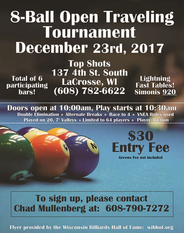 8-Ball Open Traveling Pool Tournament - Stansfield Vending