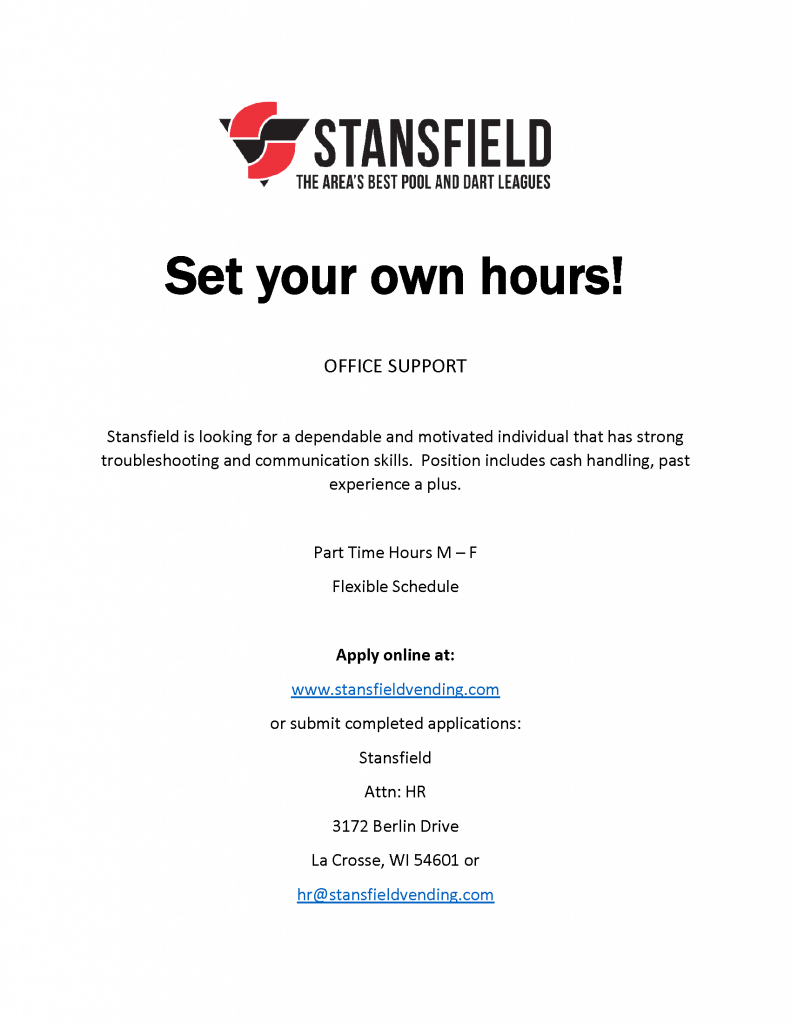 employment opportunities at stansfield vending